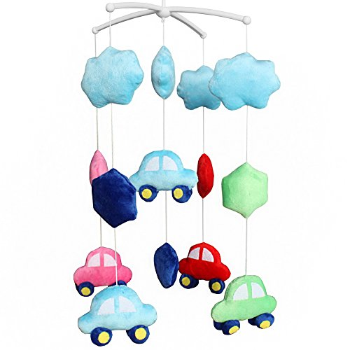 Handgemachte Baby-Bettwäsche Musical Mobile Kleinkind-hängendes Spieluhr-Spielzeug Weihnachtsgeschenk Bunte Autos