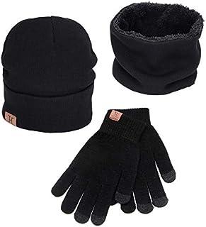 Maylisacc Winter Warm 3 Pcs Set Knit Beanie Hat + Touchscreen Gloves + Loop Scarf for Men & Women