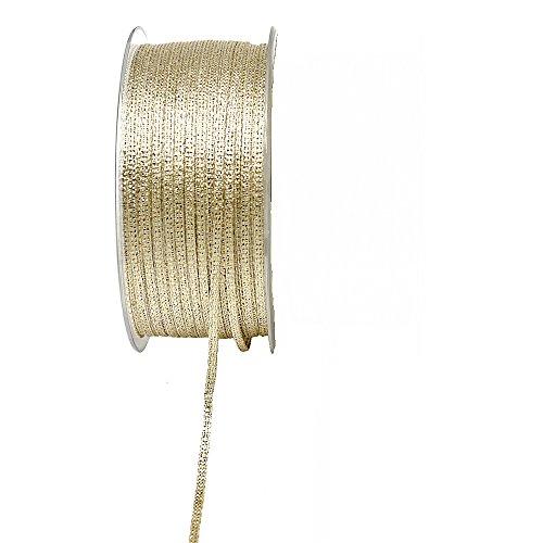 TGG Brokatband 3mm, 100 Meter ohne Draht, Brokat Geschenkband !!! (Gold)