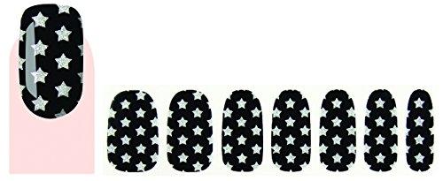 Faux ongles stickers vernis adhésif étoiles argentées