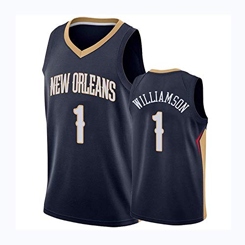 Zion Williamson 1 - Camiseta de baloncesto de Nueva Orleans Pelicans temporada 2021, camiseta Swingman, camiseta de malla bordada, unisex, sin mangas (color: azul, tamaño: mediano) FACAI