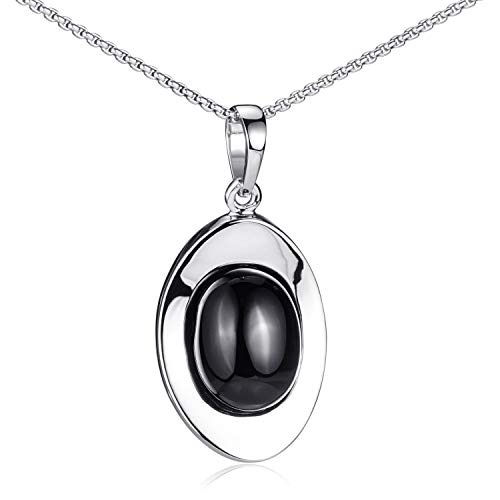 MATERIA Onyx Anhänger Silber 925 schwarz - Damen Kettenanhänger oval mit Kette Edelstein Schmuck KA-177_K102-60cm