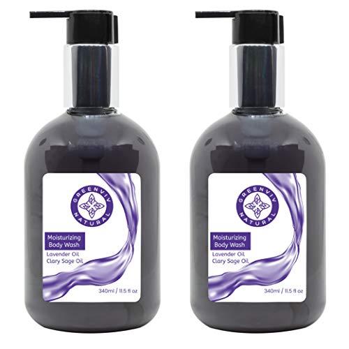 Greenviv Natural Moisturizing Body Wash, Lavender & Clary Sage, 11.5 Fl Oz (Pack of 2)