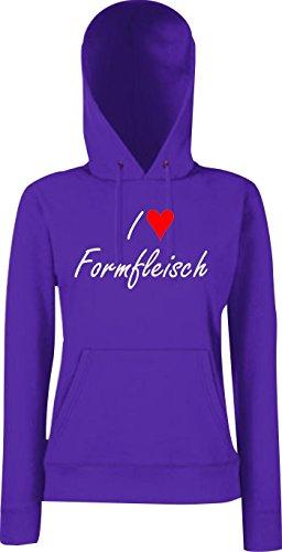 Krokodil Lady Kapuzensweatshirt I love Formfleisch Fun Spass Humor Hipster, Farbe: lila, Größe L