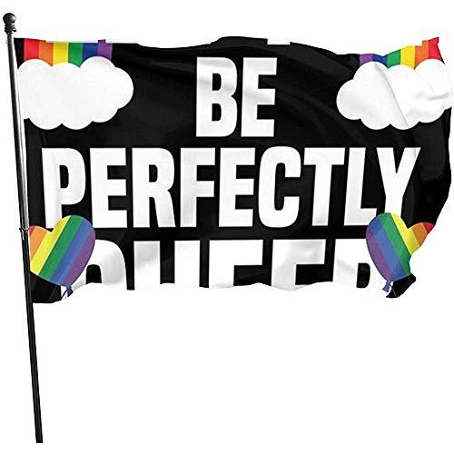 ALLdelete# Flags Queer LGBT Gay Bandiere Decorative resistenti allo sbiadimento durevoli Bandiera con passacavi Poliestere Banner esterno di lusso per Tutte le stagioni Vacanze 3X 5 Ft