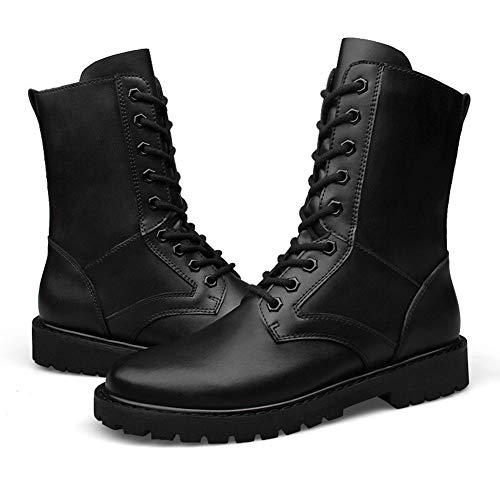 Bottes de Moto de Rue RTX pour Hommes en Cuir Bottes Montantes Chaussures Noires,42