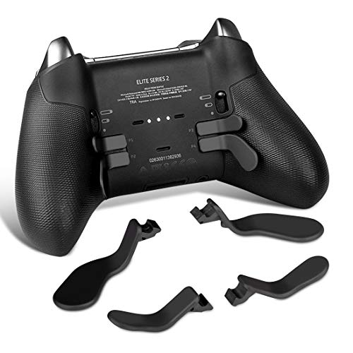 TOMSIN 4 pcs Interchangeable Paddles, Metal Stainless Steel Replacement Parts for Xbox One Elite Controller Series 2 Model 1797 (2 Medium & 2 Mini) (Black)
