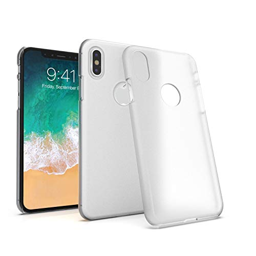 """Insten Slim Fit Case Compatible with Apple iPhone Xs/X, Protective Hard Snap-in Case Cover [Thin Light] Compatible with Apple iPhone Xs/X 5.8 inch (5.8""""), Clear Opaque Frosted"""