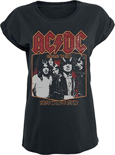 AC/DC Highway to Hell Tour '79 Frauen T-Shirt schwarz L 100% Baumwolle Band-Merch, Bands