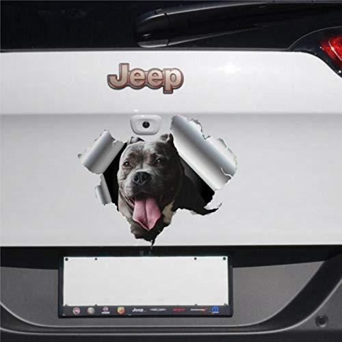 Grauer Hund American Staffordshire Cars Aufkleber Terrier Aufkleber 3D Lustiger Autoaufkleber Fensteraufkleber Vinyl Stoßstange Aufkleber Laptop Aufkleber Geschenk
