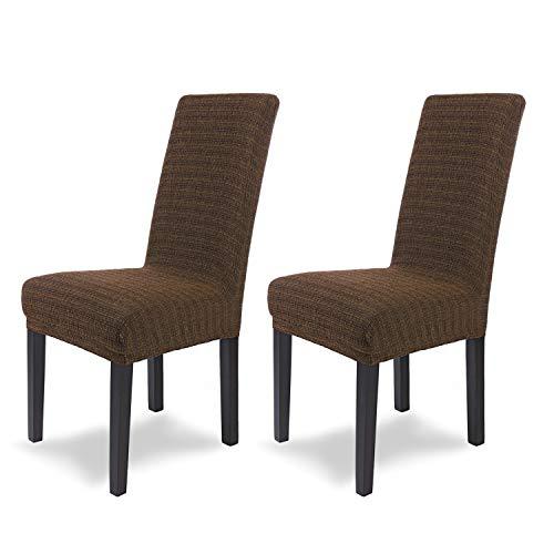 SCHEFFLER-Home Anna 2 Fundas de sillas, Estirable Cubiertas, Moderna extraíble flexibel Funda con Banda elástica, Marrón