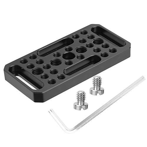 Plaque d'extension, plaque d'extension universelle de support de montage en aluminium avec trous de vis de 1/4 et 3/8 pouces pour appareil photo reflex numérique