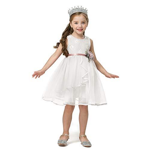 TTYAOVO Vestito da Tutu Estivo per Bebè Vestito da Principessa in Tulle per Principessa 1-2 Anni(Taglia90) 431 Bianco