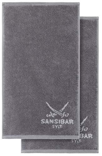 Sansibar Gästetuch Doubleface 2er 30x50 cm Handtuch Seiftuch Zweifarbig 100% Baumwolle Anthrazit/Silber