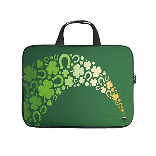 St Patricks Day Bolsa de ordenador portátil patrón bolsa de la vendimia resistente al agua portátil bolso con asa portátil para mujeres hombres blanco 13 pulgadas