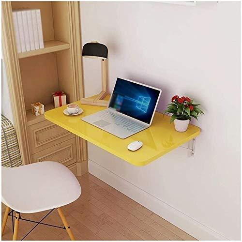 Sólido mesa plegable de mad era Plegable cuadrado amarillo de escritorio Tabla metal plegable Soporte colgante de pared de la tabla del hogar pequeño espacio en las estanterías Montado en la pared mes