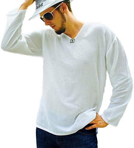 PUFA & Co - Maglietta da uomo in 100% cotone, stile hippie, scollo a V, da spiaggia, per yoga - Bianco - XX-Large