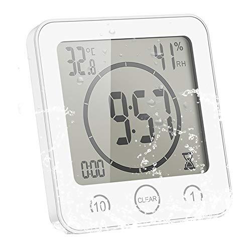 ALLOMN Badezimmer Uhr, LCD Digital Dusche Wecker wasserdichte Berührungssteuerung ℃ / ℉ Temperatur Luftfeuchtigkeit, Countdown Timer, 3 Montagemethoden, Batterieleistung (Weiß)
