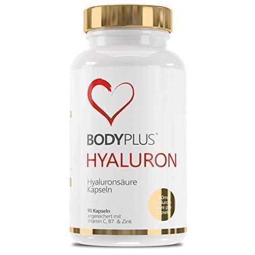 Hyaluronzuur-capsules hooggedoseerd met 700 mg 90 veganistische capsules verrijkt met vitamine C, biotine zink - voor huidhaar, anti-aging en gewrichten Bodyplus