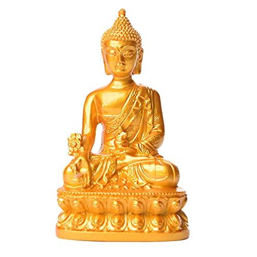 VOSAREA Gyllene Buddha Staty Resin Bhaisajyaguru Medicin Buddha Figur Mediterande Buddha Skulptur Auspicious Och Hälsa Feng Shui Ornamn Bilkontor Hemma Zen Gardens
