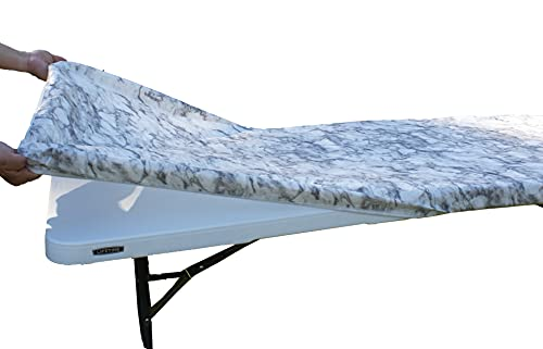 Rally Home Goods Outdoor Fitted Vinyl Rectangular Tablecloth with Flannel Backing for 6 FT Table (30 x 72''), Waterproof Wipeable Cover, White Marble Pattern for Camping Parties Picnic