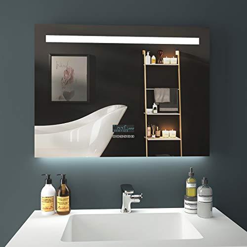 EMKE LED Badspiegel 80x60cm Badezimmerspiegel mit Beleuchtung Lichtspiegel Wandspiegel mit Bluetooth 4.1 Lautsprecher, Touchschalter, beschlagfrei, Uhr