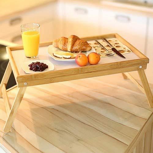EM Home Bandeja para Cama Plegable, mesita para desayunos con Patas Plegables (Madera), 50x31x21 cm