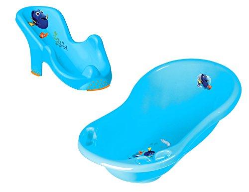 Baby Badewanne mit Stöpsel 84 cm + Badewannensitz Disney Findet Dorie blau