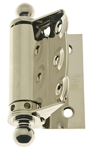 IDHBA 80320-014 Professional Grade Quality Solid Brass Half Surface Adjustable Spring Screen Door Hinges with Ball Finials (Pair), Bright Nickel
