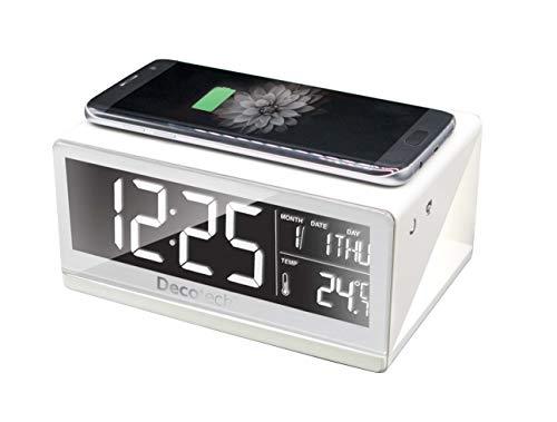 LEXIBOOK Lexib Decotech, Reloj Despertador con Cargador inalámbrico, 4 Niveles Ajustables de Brillo, con Adaptador AC/DC, Blanco RLI800, Color