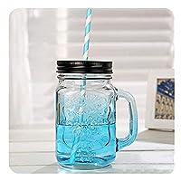 QIXIAOCYB 5パックガラスメイソン瓶16オンスのハンドルとストローでマグカップを飲む (Color : 5 blue cups)