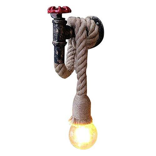 Iluminación decorativa Lámpara de pared Lámpara de cuerda de cáñamo Lámpara colgante vintage Lámpara de techo industrial Edison E27 Cable de lámpara de base Estilo retro, Cafe Restaurante Pasillo