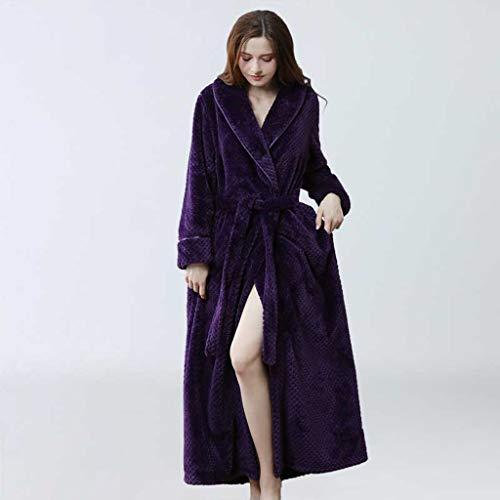 SCDZS Frauen Bademantel Winter Verdicken Warme Flanell Bad Robe Long Plus Size Liebhaber Paare Nacht Dressing Kleid Männer Nachthemd (Color : C, Size : Medium)