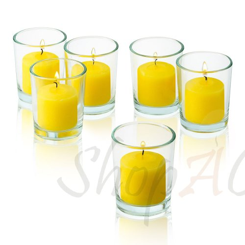 Light In The Dark 10 Hour Citronella Yellow Votive Candle With Clear Glass Holders Set Of 48