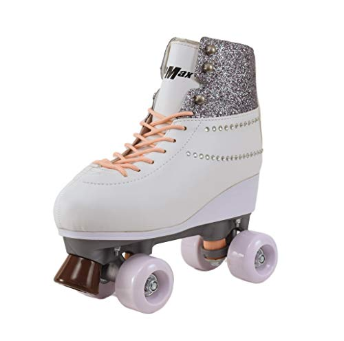 Stemax Quad Roller Skates for Girls and Women- Size 2.5 Youth to 8.5 Women - Outdoor, Indoor and Rink Skating- Classic, Hightop and Fashionable Design (Diamond 32)