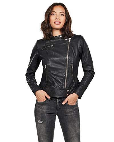 G-STAR RAW Damen Gluon Biker Slim Jacke, Schwarz (dk Black 6484), (Herstellergröße:M)