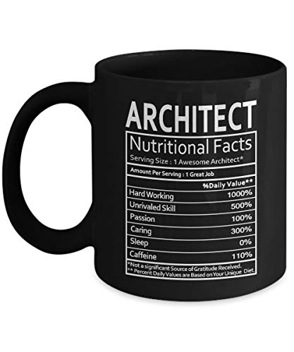 Lplpol Architect Nutritional Facts Taza de café y té – Arquitecto Gag regalo para hombres, mujeres o amigos – Divertidos regalos de cumpleaños para arquitecto – taza de café té taza negra de 3