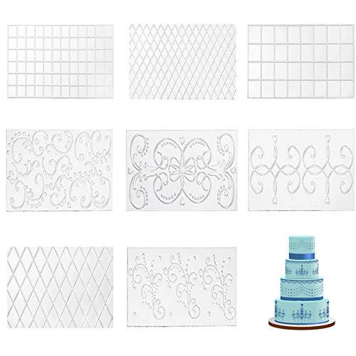 4 STK/Set Blumenmuster Zucker Dekor Werkzeuge Edge Dekorieren Backen Werkzeug Kuchen Schablone Lace Lebensmittelqualität Kunststoff, Glatt, Wiederverwendbar, Für Kuchen, Schokolade, Dessert Usw