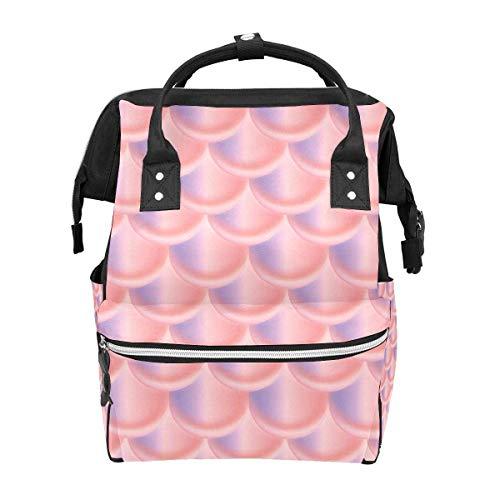 Mochila Duotone sirena escala pescado patrón rosa gran capacidad bolsa viaje Daypack