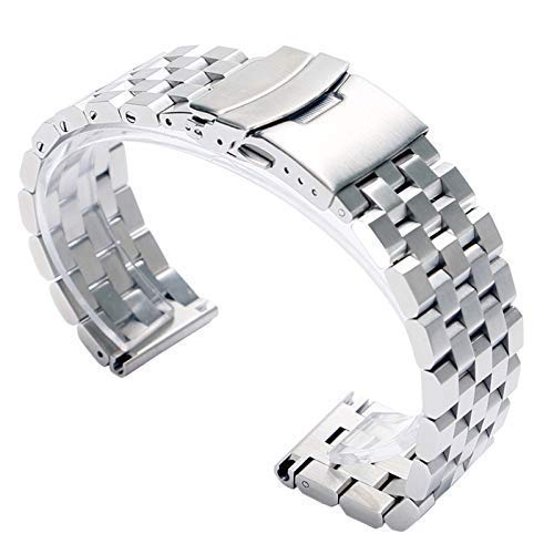 Accesorios de Reloj Correa de Reloj Plateada de 24 mm Reloj de Pulsera Cierre Plegable de Repuesto con Seguridad Pulsera de Acero Inoxidable Cool Men + 2 Barras de Resorte para Hombres y Mujeres