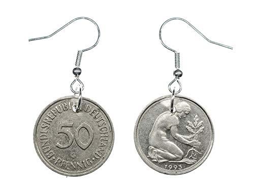 Miniblings 50 BRD Pfennig Ohrringe Münze Deutschland Geld Glückspfennig Silber - Handmade Modeschmuck I Ohrhänger Ohrschmuck versilbert
