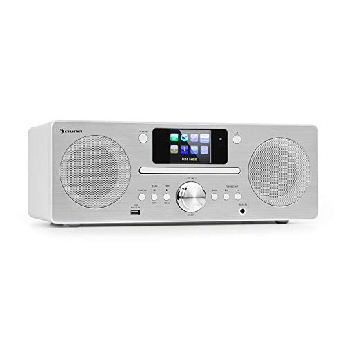 auna Harvard IR Kompaktanlage - Internet-/DAB+ und UKW-Radio, CD-Player, Spotify Connect, Bluetooth, 2,4' HCC Display, UNDOK-App, USB-Port, weiß