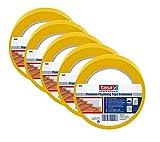 Tesa Putzband 5 Rollen Putzbänder Profi Top Qualität PVC gelb 50 mm : 33 m Bauklebeband Bautenschutzband Klebeband tesa