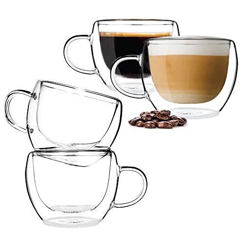 BOQO Glas-Kaffeetassen, doppelwandig, isolierte Trinkgläser mit Griff, perfekt für Latte, Cappuccino, Teebeutel, Getränke-Set, 4 Tassen (150 ml Wassergläser)