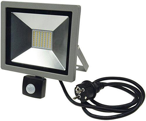 LED Außenleuchte mit Bewegungsmelder 30W 2100 Lumen IP44 1,5m Kabel mit Stecker, Grau/Schwarz