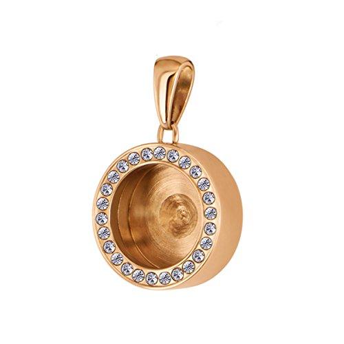 Quiges Dames Ketting Hanger van RVS Rosé Goud met Zirkonia voor Mini Coins