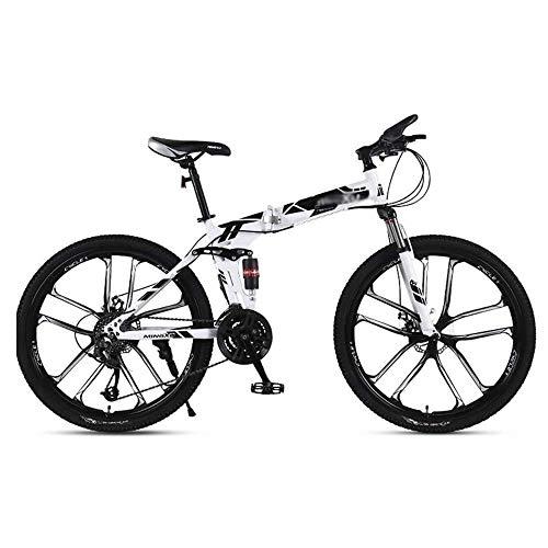 Qinmo 26 Pulgadas Bicicleta de montaña Plegable, Bicicletas de montaña del Freno de Disco ladies'double Hombres y Doble absorción de Choque, Unisex Ciudad Buggy (Color : C, Size : 24 Speed)