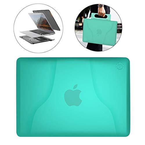 SHENGZHENHAOLIJJYPSH multifunctionele ultradunne doorschijnende warmteafvoer laptop pc-beschermhoes voor MacBook Air 13,3 inch, met houder & handvat & antislipvoeten, hoes voor MacBook Air 13.3 in, Groen