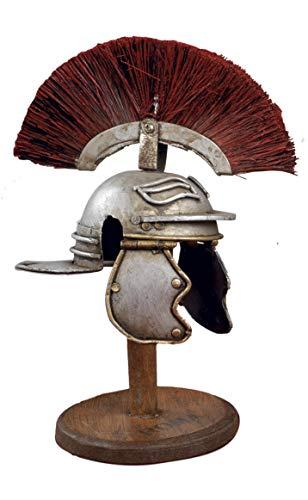 Paben Arte e Storia Modellino Elmo Centurione Romano Vintage in Metallo su piedistallo Legno, Souvenir Roma Italia