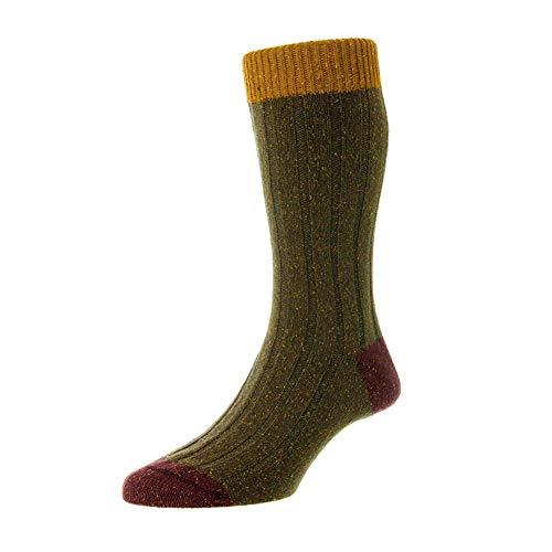 Scott Nichol Thornham 6x2 Rib Socks - Dark Khaki Marl Dark Khaki Fleck Large